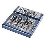 ammoon Profi Metall 4Kanäle Live Mixer Mischpult, 3-band EQ USB Funktion 48V Phantom mit...