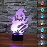 Ynnxia 3D Nachtlicht,SUAVER 3D Optische Täuschung LED Lampe, Touch Dimmbare LED Tischleuchte 7...