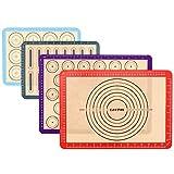 Lazymi 4 Stück Antihafte Backmatte Silikon mit Messung für Macaron/Kuchen/Brot/Pizza Matte....