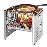 Atrumly Holzkohlegrill Tragbarer Klappgrill BBQ Grill, Faltbares Holzkohle-Set Tragbares Edelstahl...