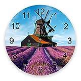 Leeypltm Modern Quartz Lautlos Wanduhr,Lavendel Windmühle Farm mit Arabisch Ziffer Wanduhren...