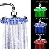 HHFZH LED Einbau-Duschkopf Regendusche Deckenbrause Überkopfbrause superflach Farbewelchseln nach...