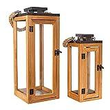Holzlaternen für Draußen Groß   2 Stück Laternen Set   Windlichter Outdoor   Kerzenständer Für...