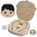 LATTCURE Zahnbox Holz Milchzähne Box, Milchzahndose aus Holz zur Deutsch Wort Milchzahnbox für...