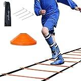 HENGMEI Koordinationsleiter 6m Fussball Trainingsleiter Set Agility Leiter mit Erdnägel Tragetasche...