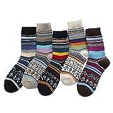 Lazzboy Store Wollsocken 5er Pack Damen Socken Winter Soft Warm Kalt Gestrickte Wintersocken Warme...