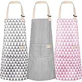 3 Stücke Baumwolle Leinen Kochschürze, Schürze Kochschürze Küchenschürze Latzschürze mit...