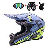 WRISCG Erwachsene Motocross Helm BMX DH ATV Offroad-Downhill-Dirt-Bike-MX-Go-Kart-MTB-Rennhelm Off...