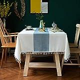 Unbekannt Rechteck Tischdecke Jacquard Tischdecke mit Wellenmuster Tischdecken Parteien Marineblau...