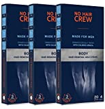 3 x NO HAIR CREW Premium Kaltwachsstreifen für den Körper – Haarentfernungs-wachs für Männer...