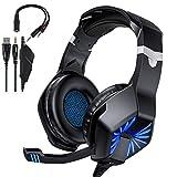 TedGem Headset, Headphones, 3.5mm Kopfhörer, Surround Sound Gaming Headset PC mit Mikrofon, LED...