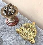 Asmara Nautische Astrolabe, Messing, Holzsockel mit 12,7 cm großer nautischer Sonnenuhr-Kompass,...