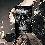 Tier Wandkunst Schwarz Gorilla Leinwand Malerei Poster und Drucke Wandbilder Wohnzimmer Home...