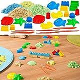 Playtastic Dynamic Sand: Kinetischer Sand in 4 Farben, je 300 g, mit Sand-Formen und Werkzeug...