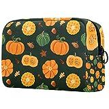Orange und Grün Kürbis-Kosmetiktasche für Frauen, bezaubernde, geräumige Make-up-Taschen,...