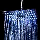 KAIBOR 30 * 30cm LED Einbau-Duschkopf Regendusche Deckenbrause Quadrat Überkopfbrause superflach...