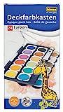 Idena 22064 Deckfarbkasten mit 24 Farben und 1 Tube Deckweiß, ideal für Kindergarten, Schule und...
