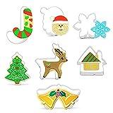 BSTTAI 7 Stück Ausstechformen Weihnachten,Plätzchen Ausstecher Set,Keksausstecher Weihnachten...