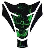 Tankpad 3D - 500157 - Ghost Green Totenkopf-Motiv/Flammen Grün - universell für Yamaha, Honda,...