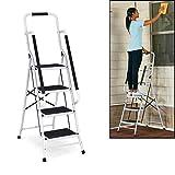 Trittleiter 4 Stufen mit handlauf und Rutschfester Stufen, Stahl Stehleiter Haushaltsleiter...