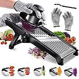Masthome Verstellbarer Gemüsehobel mit schnittfesten Handschuhen, Edelstahl, Julienne-Schneider...