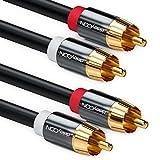 deleyCON 2m Cinch Kabel Stereo Audio Cinch RCA Kabel 2X Cinch Stecker zu 2X Cinch Stecker...