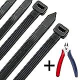 Kabelbinder 300 mm x 7,6 mm, UV-Beständig ultra starke Kabelbinder mit 50 kg Zugfestigkeit, Schwarz...