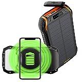 Powerbank Solar Wasserdicht 26800Mah Tragbares Handy Solarladegeräte Mit 2 Eingangsports Und 3 3.1A...