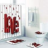 AUXING Mode Duschvorhang Bad Bodenmatte Kombination Vierteiliger Anzug Toilette Toilette Teppich...