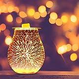 Konesky Feuerwerk Aroma Lampe, 3D elektrische Glas Duftlampe Feuerwerk Effekt Nachtlicht Zylinder...