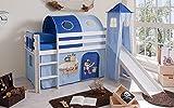 lifestyle4living Hochbett für Kinder in weiß-blau mit Rutsche, Turm und Vorhang im Piraten Motiv  ...