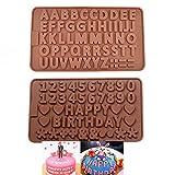 BILINGSLEY 3D-Silikonform mit Zahlen 0–9 und Alphabet, A-Z, geprägt, für Süßigkeiten, Zahlen,...