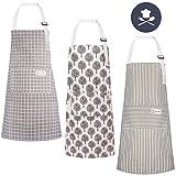 LAOZHOU 3 Stücke Baumwolle Leinen Kochschürze, mit Tasche Verstellbare Küchenschürze Damen und...