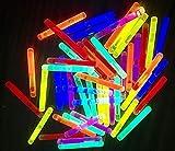 50 Mini Knicklichter Leuchtstäbe | Bissanzeiger Glowstick | Partylichter Neon | rot gelb grün pink...