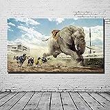 ganlanshu Groe Moderne Architektur Bild Hund lgemlde Elefant rahmenloses Wohnzimmer Wandbild...