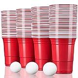 TRESKO Rote Partybecher 100 Stück | Beer Pong Party Cups | 473 ml (16 oz) | Bierpong Becher extra...