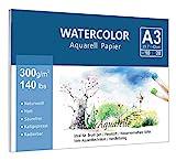 Premium Aquarellpapier (A3, 300 g/m, 10 Blatt), Lelengder Aquarellblock Glatt Watercolor Paper,...