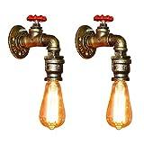 Fuloon 2 x Vintage Retro Wandlampe, Wasserrohr Metall Wandleuchte E27 Lampenfassung Halterung...