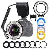 LED Ringblitz Ringleuchte Blitzgerät Set für Nikon Canon Panasonic Olympus Sony und andere DSLR...