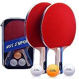 Joy.J Sport Tischtennisschläger, Pingpong-Schläger Set mit 2 Schläger und 3 Bällen,...