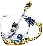 Glas Tee-Set-Blumen-Tee-Cup Creative Glass Emaille-Becher Haushaltshochtemperaturbeständige