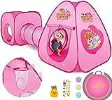 Peradix Kinderspielzelt mit Spielhaus Tunnel und Zelt Tasche 3 in 1 Pop Up Spielzelt, Prinzessin...