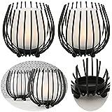 LS-Design 2x Metall Glas Windlicht Schwarz Set Teelichthalter Teelicht Gläser Kerzenhalter