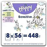 bella baby Happy Feuchttücher Sensitive mit Klickverschluss, 8er Pack (8 x 56 Stück) sanft und...
