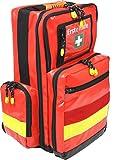 Notfallrucksack Medicus/PRO - LEER - rot aus Plane mit gelben Reflexstreifen