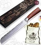Caridano® Messerset – Brotmesser inkl. Brotsäckchen – Küchenmesser mit Holzgriff aus Pakka...