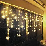 Lichterkette Eisregen Außen, Schneeflocke Weihnachtsbeleuchtung Lichtervorhang mit USB, 8 Modi und...