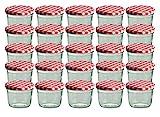 CapCro 25er Set Sturzglas 230 ml Marmeladenglas Einmachglas Einweckglas to 82 rot Karierter Deckel
