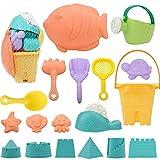 AYUQI Bunte Kinder Sandspielzeug, 18 Stück Strandspielzeug Set Sand Castle & Strand Formen, Eimer,...
