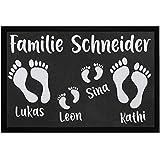 SpecialMe® Fußmatte mit Namen Familie personalisiert Fußabdrücke Vornamen Familienname...
